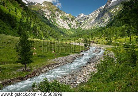 Valley In The Austrian Alps In Summer On A Sunny Day, Dorfertal Osttirol Austria