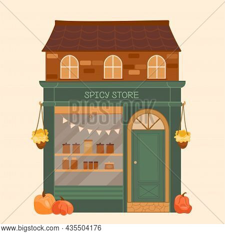 Vector Illustration Stall Counters Store With Windows Shop
