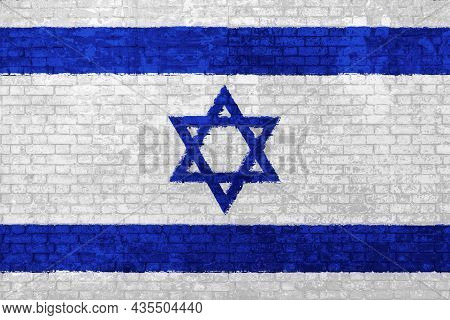 Wall Of Bricks Painted With The National Israel Flag In 3d Illustration Background. Concept Of Socia