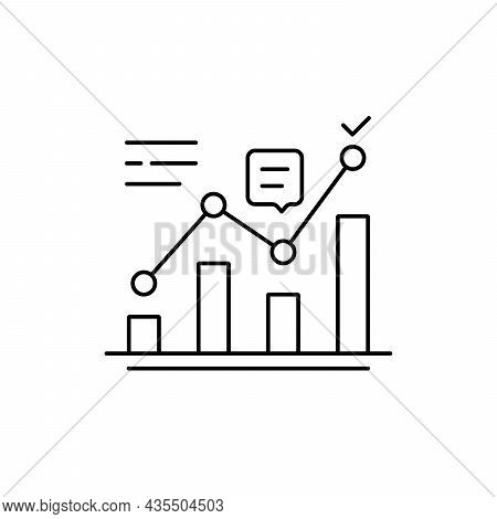 Thin Line Positive Analytics Like Kpi Icon. Concept Of Statistics Analysis Process And Business Prod