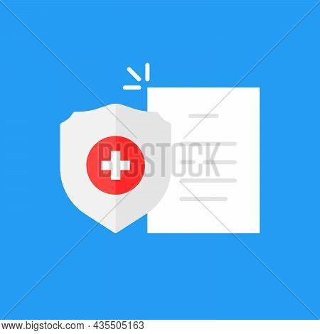 Cartoon Health Insurance Icon With Shield. Simple Flat Style Trend Modern Logotype Graphic Design El