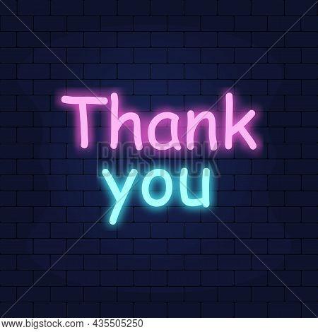 Thank You Neon Text Vector. Thank You Neon Sign, Design Template, Modern Trend Design, Night Neon Si