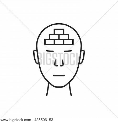 Thin Line Head With Mental Block. Flat Stroke Lineart Care Logotype Graphic Art Design Isolated On W