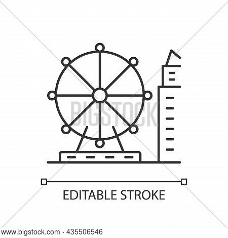 Singapore Flyer Linear Icon. Large Observation Wheel. Amusement Ride. Theme Park. Ferris Wheel. Thin