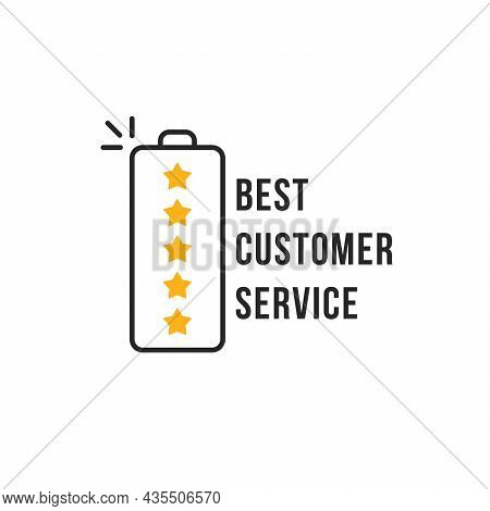 Best Service Icon With Outline Battery. Concept Of Customer Loyalty Or Good Product Review And Posit