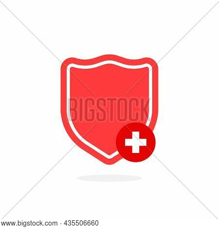 Red Shield Like Protection Of Health. Concept Of Strong Health And Life Protect And Medical Insuranc