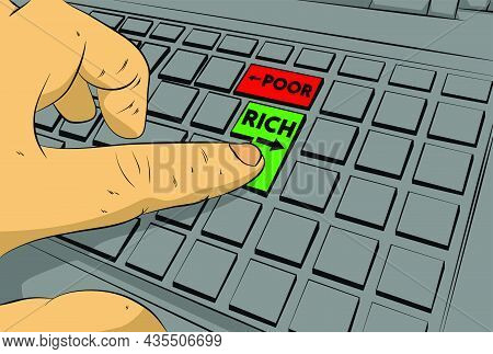 Poor Or Rich Words With Arrows On Computer Keyboard. Man Push Keypad On Keyboard. Comic Book Style C