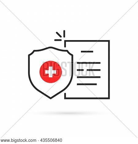 Health Insurance With Thin Line Shield. Simple Outline Flat Trend Modern Logotype Graphic Design Ele