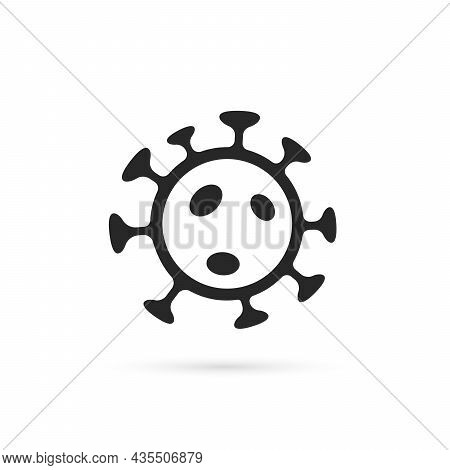 Black Coronavirus Icon With Shadow. Concept Of Global Pandemic Risk Or East Corona Virus. Minimal Fl