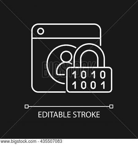 Password Encryption White Linear Icon For Dark Theme. Database Control. Password Management. Thin Li