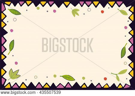 Vintage Folk Pattern Of Triangles And Leaves Decorative Frame Background. Retro Graphic Hand Drawn O