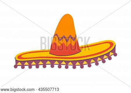 Traditional Mexican Wide Brimmed Sombrero Hat. Mexico National Hand Drawn Headdress. Vector Eps Illu