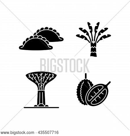 Plants In Singapore Black Glyph Icons Set On White Space. Traveller Palm. Supertree Grove. Curry Puf