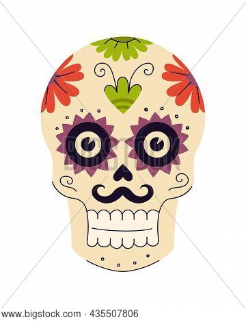Mexican Holiday Day Of The Dead Sugar Skulls With Floral And Plant Patterns. Mexico Traditional Fest