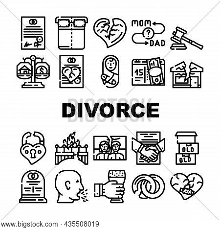 Divorce Couple Canceling Marriage Icons Set Vector. Family Problem Divorce And Payment Alimony, Brok
