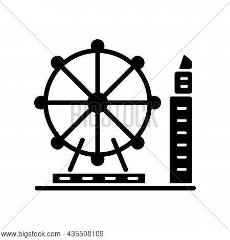 Singapore Flyer Black Glyph Icon. Large Observation Wheel. Amusement Ride. Theme Park. Ferris Wheel.