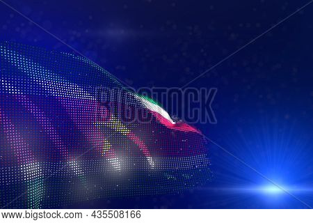 Cute Digital Illustration Of Suriname Flag Of Dots Waving On Blue - Bokeh And Place For Your Content