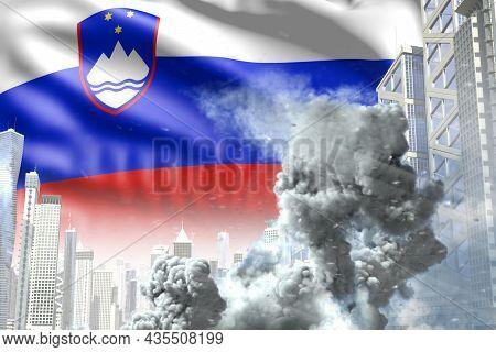 Large Smoke Pillar In Abstract City - Concept Of Industrial Catastrophe Or Terroristic Act On Sloven