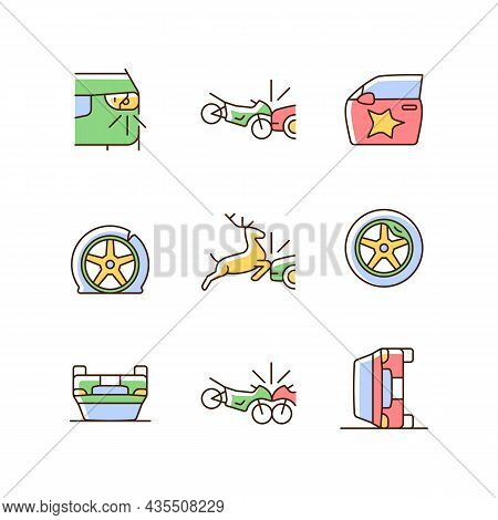 Common Car Crashes Rgb Color Icons Set. Rollover Accidents. Wildlife Vehicle Collision. Damaged Car