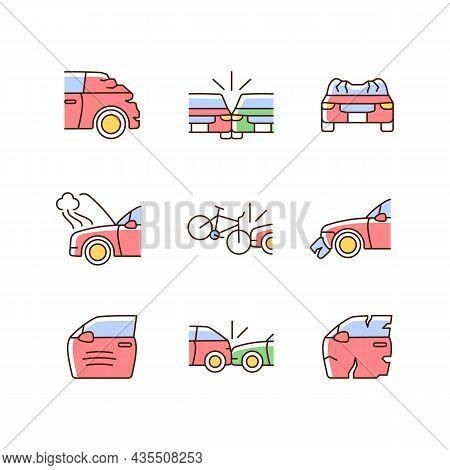 Road Traffic Accidents Rgb Color Icons Set. Car Damaged Body Parts. Broadside Crash. Car-on-bike Col