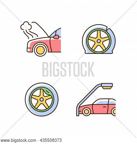 Vehicle Damage In Car Accident Cases Rgb Color Icons Set. Mechanical Breakdown. Automobile Tire Defe