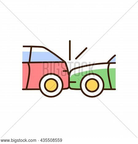 Rear-end Collision Rgb Color Icon. Hitting Vehicle From Behind. Aggressive Driving. Accident Occurs