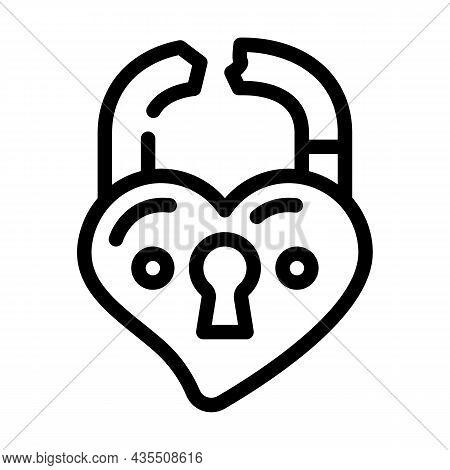 Broken Love Padlock Line Icon Vector. Broken Love Padlock Sign. Isolated Contour Symbol Black Illust