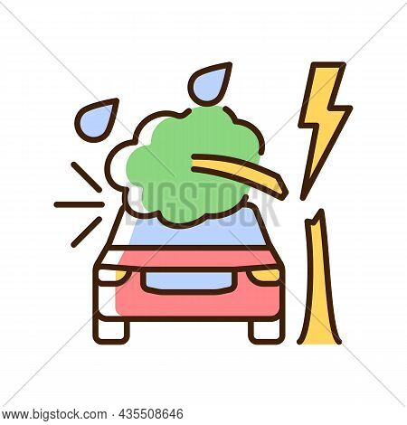 Weather Related Damage Rgb Color Icon. Tree Falling On Car. Outdoor Parking. Windscreen Damage. Stor