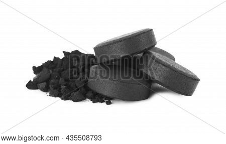 Activated Charcoal On White Background. Potent Sorbent