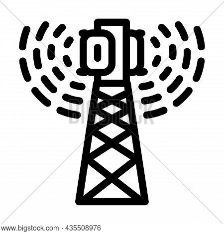 Antenna Electromagnetic Line Icon Vector. Antenna Electromagnetic Sign. Isolated Contour Symbol Blac