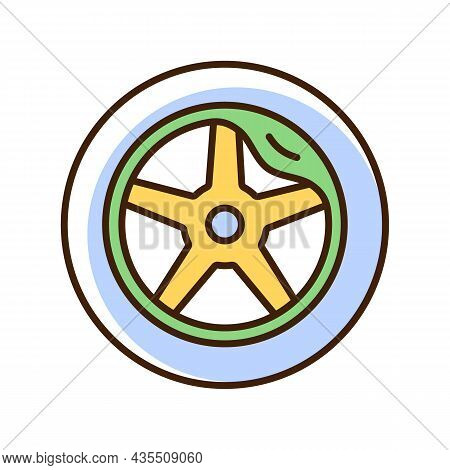 Wheel Damage Rgb Color Icon. Collision Damaged Vehicle. Driving On Cracked Rim. Uneven Wear In Tires