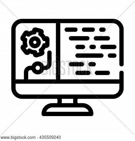 Data Processing Line Icon Vector. Data Processing Sign. Isolated Contour Symbol Black Illustration