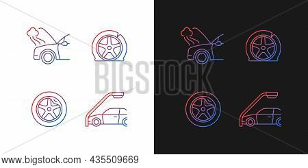 Vehicle Damage In Car Accident Cases Gradient Icons Set For Dark And Light Mode. Breakdown. Thin Lin