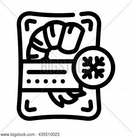 Shrimp Frozen Seafood Line Icon Vector. Shrimp Frozen Seafood Sign. Isolated Contour Symbol Black Il