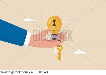 Key To Success, Creativity Idea To Solve Problem, Innovation Or Knowledge To Unlock Career Potential