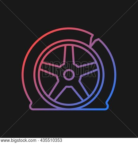Tyre Damage Gradient Vector Icon For Dark Theme. Vehicle Accident. Car Tire Defects. Bad Road Condit