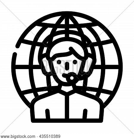 Worldwide Support Line Icon Vector. Worldwide Support Sign. Isolated Contour Symbol Black Illustrati