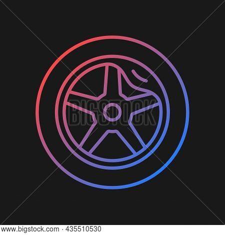 Wheel Damage Gradient Vector Icon For Dark Theme. Collision Damaged Vehicle. Cracked Rim. Uneven Wea
