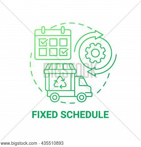 Fixed Schedule Green Gradient Concept Icon. Waste Management Abstract Idea Thin Line Illustration. G