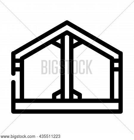 Building Metallic Framework Line Icon Vector. Building Metallic Framework Sign. Isolated Contour Sym