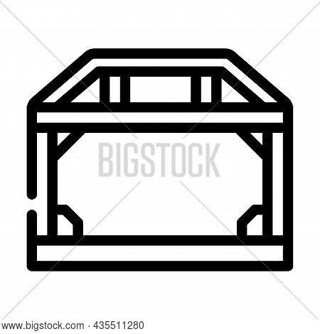 House Metallic Frame Construction Line Icon Vector. House Metallic Frame Construction Sign. Isolated