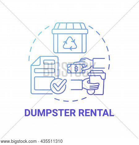 Dumpster Rental Blue Gradient Concept Icon. Waste Management Service Abstract Idea Thin Line Illustr