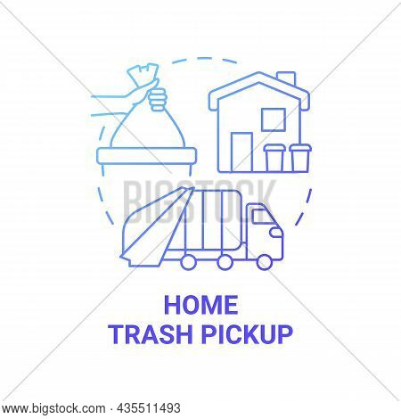 Home Trash Pickup Blue Gradient Concept Icon. Waste Collection And Disposal Abstract Idea Thin Line
