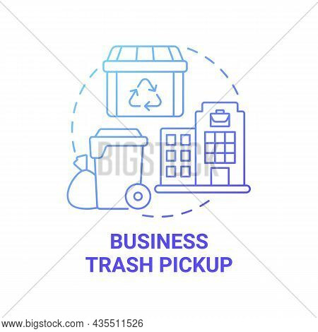 Business Trash Pickup Blue Gradient Concept Icon. Waste Management Abstract Idea Thin Line Illustrat