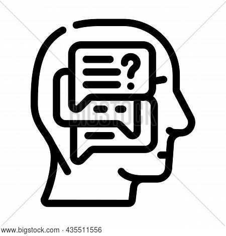 Discussion In Head Line Icon Vector. Discussion In Head Sign. Isolated Contour Symbol Black Illustra