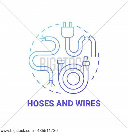 Hoses And Wires Blue Gradient Concept Icon. Waste Collection And Disposal Abstract Idea Thin Line Il