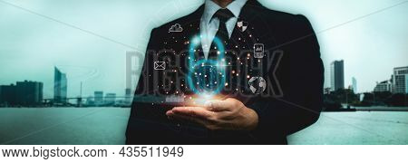 Data Protection, Cyber Security.virtual Network Connection,a Businessman Holds Padlock To Protect Co
