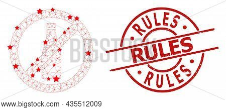 Forbid Beer Bottle Star Mesh Net And Grunge Rules Stamp. Red Stamp With Scratched Surface And Rules