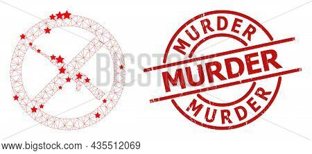 Forbid Kalashnikov Weapon Star Mesh And Grunge Murder Seal Stamp. Red Seal With Distress Style And M