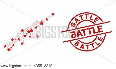 Kalashnikov Gun Star Mesh And Grunge Battle Seal. Red Seal With Scratched Surface And Battle Text In